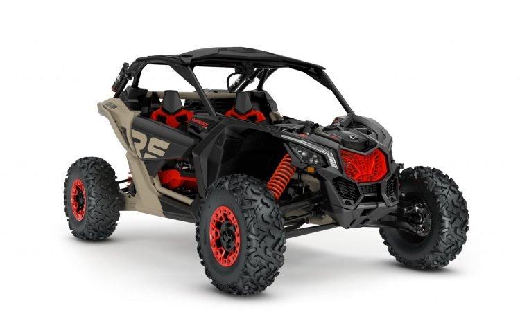 MY21-Can-Am-Maverick-X3-XrsSAS-TurboRR-MacchiatoSatin-Black-CanAmRed-34Front-NA